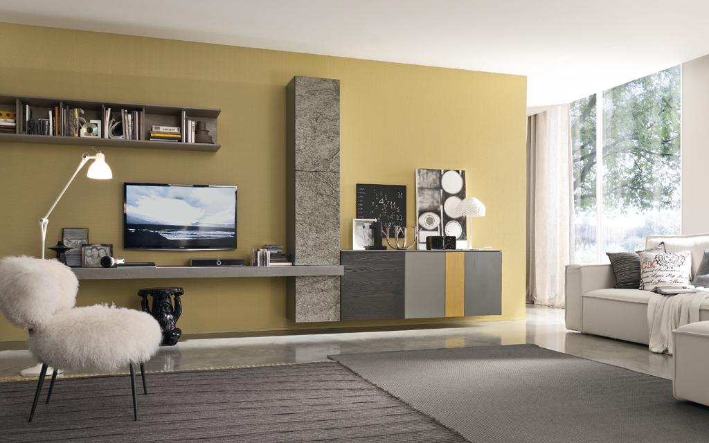 Soggiorno horizon componibile casa del mobile di fratti for Colori pareti soggiorni moderni